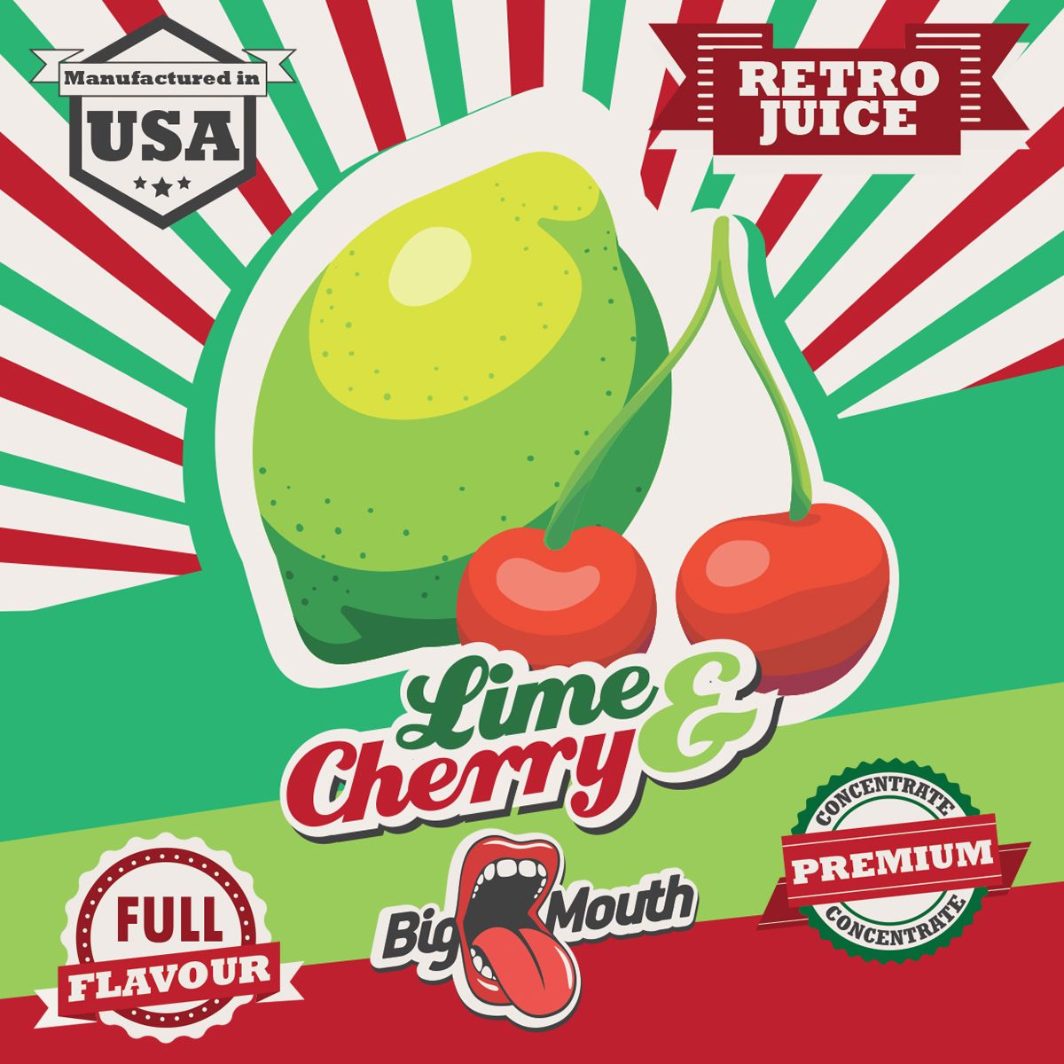 Příchuť Big Mouth RETRO - Limetka a Cherry - 10ml